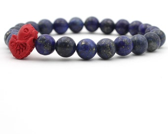 Lapis Stone Meditation Yoga Prayer Beads Bracelet With Red Twin Fishes Bead  B002-QJ-002