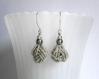 Silver Beaded Knot Earrings Knot Jewelry Classic Silver Dangles Nautical Jewelry Silver Seed Bead Earrings