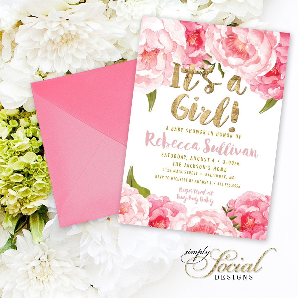 floral baby shower invitation - floral peony blush faux gold foil, Baby shower invitations