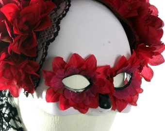 Day of the Dead Halloween Mask - Red Ombre - READY TO SHIP