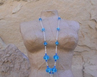 Sale 40 Percent Off Inspired by the Tudors Desert Cerulean Sky Blue  Czech and Swarovski Bead Necklace and Earrings