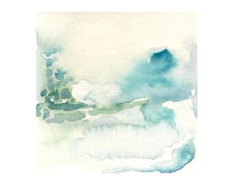 "Abstract art, Ocean Art, Abstract Painting, Minimal Art, Abstract landscape, Oceans Edge: Original Abstract Ocean Watercolor Art 4.5 x4.5"""