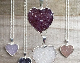 Heart Druzy Necklace Choose Your Heart Pendant Sterling Silver Cable Chain
