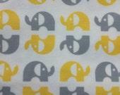 Organic Grey and Yellow Elephants - Flannel Fabric - Cloud 9 - 1 yard