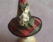 Handmade 1/12 scale dollshouse miniature tartan daisy witches hat
