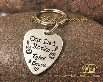 Guitar pick key chain Our Dad Rocks My Dad Rocks I Pick You etc