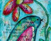 Art Print on Wood Block Bird Happy