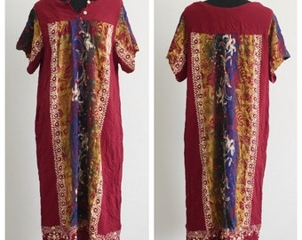60% OFF Vintage Rayon Batik Festival Hippie Ethnic Dress Tugu Agung M (c)