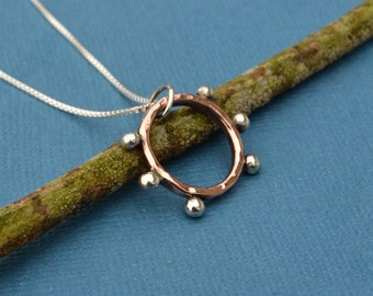 Mixed Metal Copper and Sterling Silver Eternity Hoop Pendant