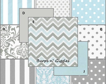 Baby Boy Crib Bedding Set..Crib Bumper, Crib Skirt. Blue n Gray Chevron