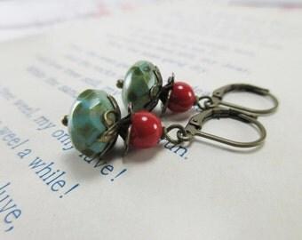 Boho Earrings. Czech Glass Earrings. Bohemian Earrings. Picasso Finish Earrings. Earthy Earrings. Large Faceted Bead. Clip On Dangle.