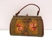 Caron Beaded Tapestry Bag Vintage Embellished Top Handle Handbag Leaves Hand Beaded Jeweled Carpet Bag Houston Texas 1950s