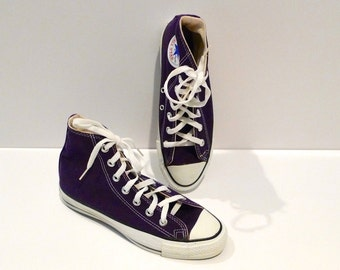 Purple Converse Hi tops Vintage Chuck Taylor All Star Hi Sneakers Made in USA Size 6 Mens Size 8 Womens Unisex High Top Tennis Shoes