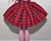Handmade Monster High doll clothes - black and red checkered pleated skirt