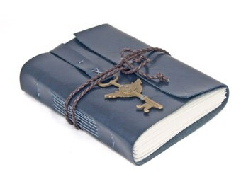 Navy Blue Faux Leather Journal with Lined Paper and Key Bookmark - Ready To Ship -