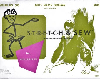 Stretch & Sew 500 Men's 60s Alpaca Cardigan Sewing Pattern Chest 38 to 44