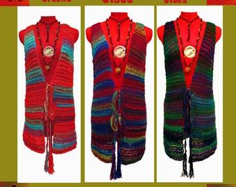 One Womens Vest, Mid-Length, Boho Clothing, Plus Size Clothing, Boho Hippie Vest, Crochet Vest, Festival Clothing, Bohemian, Boho Chic Vest