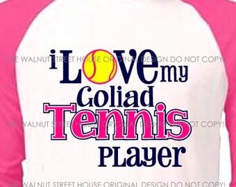 ORIGINAL DESIGN, Choose from Regular Tee or Baseball Raglan, I love my tennis player, tennis mom shirt, tennis grandma, tennis sister