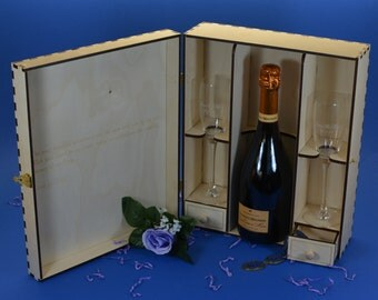 Elegant Wood Champagne Gift Box Set with 2 Etched Crystal Flutes and 2 Keepsake Drawers Personalized by you