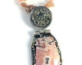 ON SALE Crazy Lace Agate and silver hinged pendant precious metal clay silver PMC