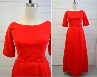 1960s Lorrie Deb Red Formal Dress