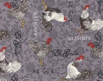 ON SALE Moda - 1/2 YARD -  El Gallo Rooster by Deb Strain Charcoal Rooster Toss 19691-13