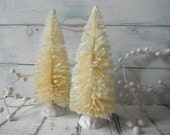christmas decorations  large bottle brush trees cream trees shabby chic french country holiday adornments SET OF 2 x 8 inch