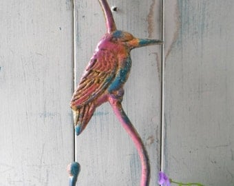colorful bird bird feeder holder bird feeder hook porch hook bohemian bird she shed decor large painted hook cottage chic shabby decor