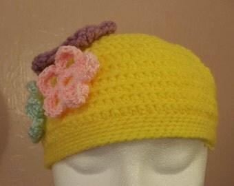 yellow flower beanie