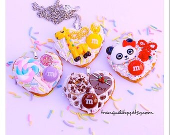 Cookie Necklace , Heart Decoden White  Whipped Frosting Sugar Cookie, Cookie Necklace ,Birthday, Teens, Girls , Handmade By: Tranquilityy