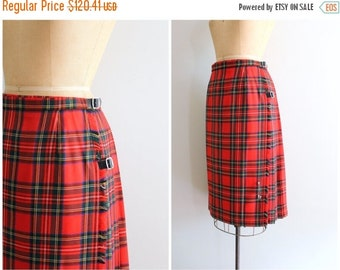 SALE / new old stock Royal Stewart tartan kilt - wool wrap skirt / Scottish kilt - 1970s red plaid tartan kilt / 80s preppy kilt - 30