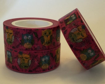 Washi Tape, Colorful Owls, 15mm x 10m washi/scrap booking/Planner tape/washi paper tape