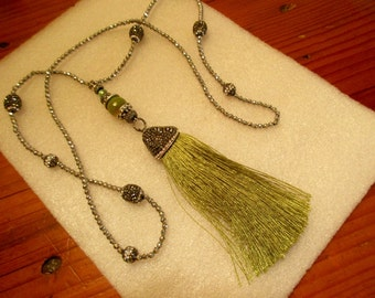 Superb Long Green SILK TASSEL w/Pave Crystal Hematite Rhinestone Cap & Olive Agate Round on Pave Silver/Hematite Chain w/8 Pave Beads - OOAK