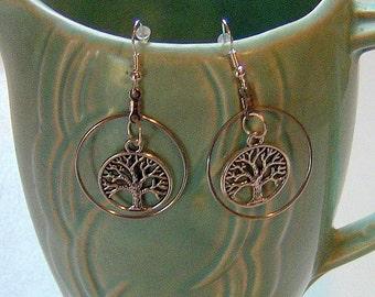 Hoop Earrings, Tree Of Life Earrings, Hoop Tree of Life Earrings