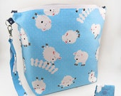 """Large Zipper Knitting Project Bag """"Tossed Sheep"""" (Wedge Style):  with detachable handle! (10"""" x 14"""" x 5"""" base)"""