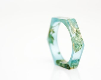 thin hexagonal eco resin ring - blue with gold leaf flakes - size 7.5