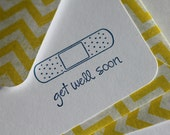 Set of 3 Stationery - Sunshine Bright Yellow Chevron Stripes with Navy Blue Bandaid - Get Well Soon