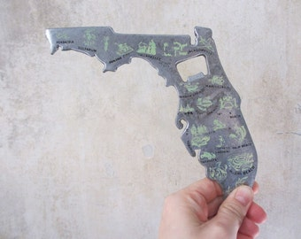 Vtg Florida travel souvenir novelty bottle opener / metal / large / map sightseeing cities  / drink bar alcohol party supply / 1970s-1980s