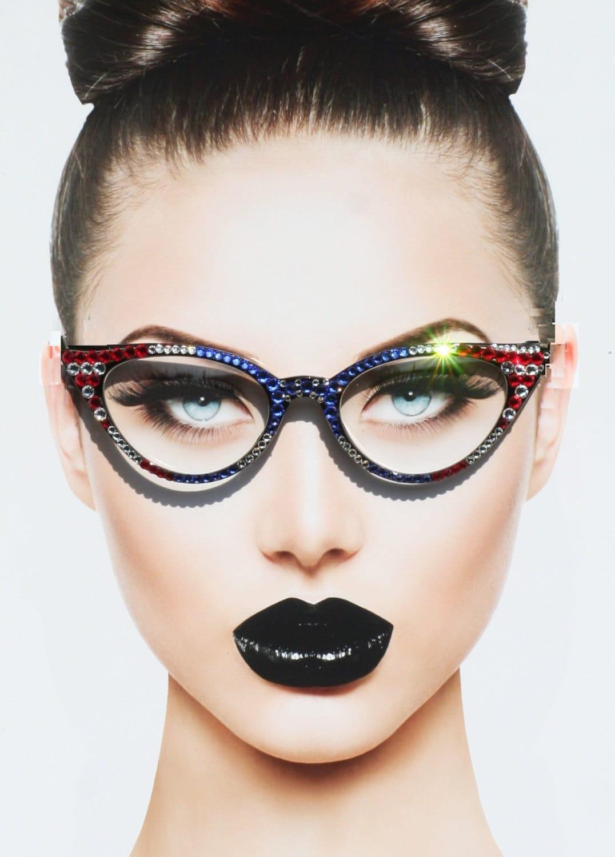 Patriotic Cat Style Eyewear Clear Lens Glasses American Flag