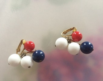 Red white and blue cluster earrings.