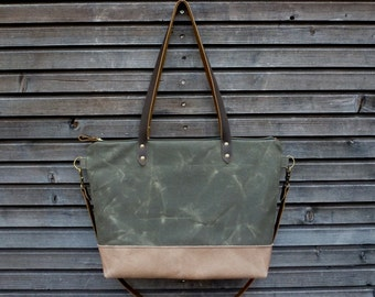 Waxed canvas bag tote bag with  leather handles and bottom in taupe color leather