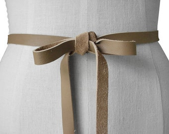 Seamless Narrow Leather Tie Belt Soft Leather Bow Belt, Mushroom Taupe Leather Ribbon Tie on  Belt , Wedding Dress Sash, Extra Long