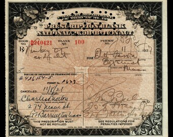 11/8 1927 Edith Prohibition Prescription Whiskey Doctor Antique Medicine Pharmacy Gift Original Rx Great Barrington MA Speakeasy Bar