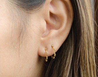 Hoop Stud Earrings, Sterling Silver & Gold Plated, Open Hoop Earrings, Modern Jewelry, Hand Made, Gift for Her, STD067