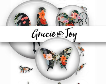 Animal Silhouette- Boho- Floral -Digital Collage Sheet- 20 mm circle Cabochon- Instant download-Magnets-Buttons-Image template