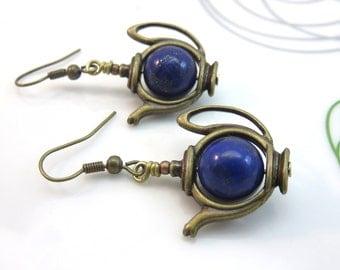 Tea pot earrings -  blue lapis lazuli teapot earrings - blue lapis lazuli earrings - gemstone earrings - antiqued brass bronze vintage style