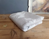 vintage French traditionnal soft grey ticking fabrics with flowers patterns