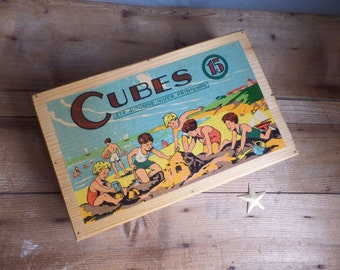 Vintage french wooden box used for children cubes ...
