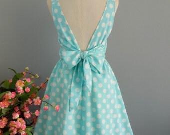 Blue dress polka dot dress blue party dress blue prom dress backless dress blue bridesmaid dresses blue sundress summer dress