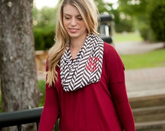 Monogrammed Infinity Scarf -  taupe - Great addition to the fall wardrobe
